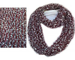 Maroon White Confetti Knit Infinity Scarf