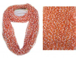 Orange & White Lightweight Confetti Knit Infinity Scarf