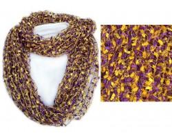 Purple & Gold Lightweight Confetti Knit Infinity Scarf