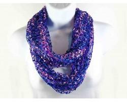 Purple & Pink Lightweight Confetti Knit Infinity Scarf