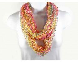 Pink Yellow Blue Lightweight Confetti Knit Infinity Scarf