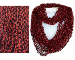 Red & Black Lightweight Confetti Knit Infinity Scarf