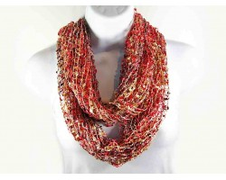 Red & Tan Lightweight Confetti Knit Infinity Scarf