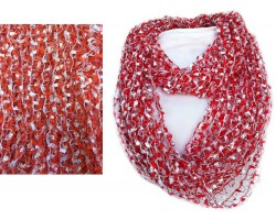 Red & White Lightweight Confetti Knit Infinity Scarf