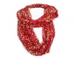 Red with Tan Lightweight Confetti Knit Infinity Scarf