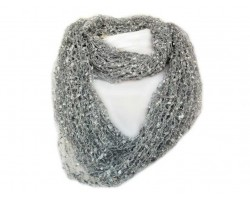 Silver Lightweight Confetti Knit Infinity Scarf