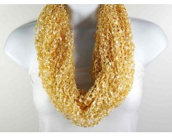 Tan Lightweight Confetti Knit Infinity Scarf