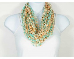 Coral & Turquoise Lightweight Confetti Knit Infinity Scarf