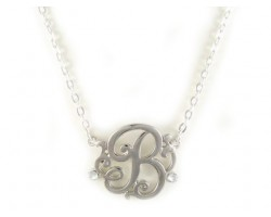 Silver Plate Clear Crystal Cursive Initial Chain Necklace