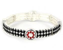Black Silver Houndstooth Red Crystal Stretch Bracelet