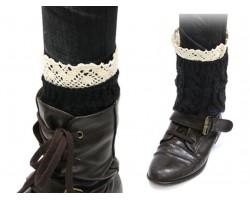 Black Knit Boot Topper Crochet Lace Trim