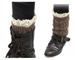 Brown Knit Boot Topper Crochet Lace Trim