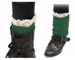 Green Knit Boot Topper Crochet Lace Trim