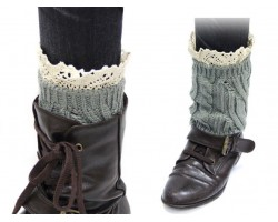 Gray Knit Boot Topper Crochet Lace Trim