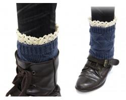 Navy Blue Knit Boot Topper Crochet Lace Trim