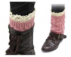 Pink Knit Boot Topper Crochet Lace Trim