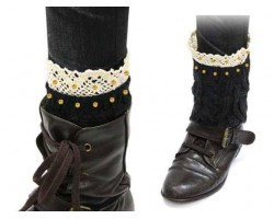 Black Gold Knit Boot Topper Crystal Lace Trim