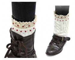 Red White Knit Boot Topper Crystal Lace Trim