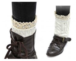 White Knit Boot Topper Crystal Lace Trim