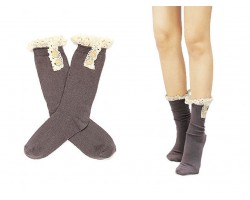 """Brown Solid Knit Button Laced Boot Socks 8"""""""
