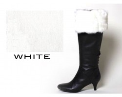 White Fur Topped Knit Boot Topper