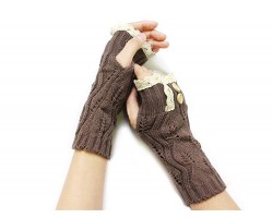 Brown Knit Lace Edge Button Hand Arm Warmer