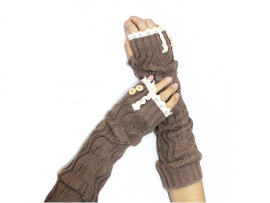Brown Knit Lace Button Long Arm Warmer