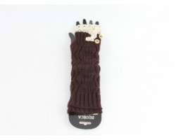 Dark Brown Knit Lace Button Long Arm Warmer