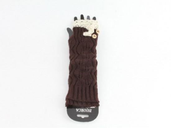 Dark Brown Knit Lace Button Long Arm Warmer