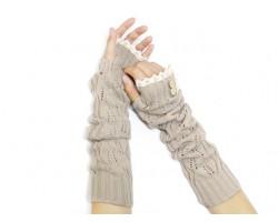 Khaki Knit Lace Button Long Arm Warmer