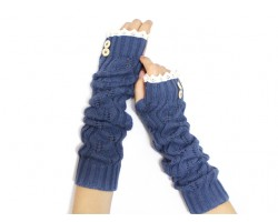 Navy Knit Lace Button Long Arm Warmer