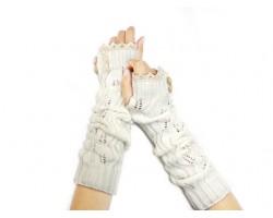White Knit Lace Button Long Arm Warmer