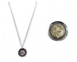 Two Tone Floating Monogram Locket Necklace