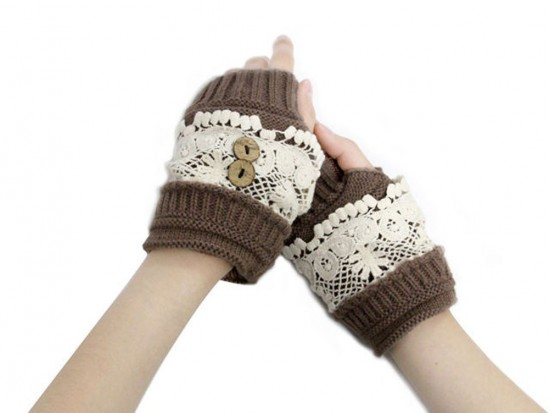 Brown Knit White Lace Hand Warmers 2 Buttons