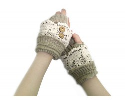 Khaki Knit White Lace Hand Warmers 2 Buttons