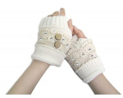 White Knit White Lace Crystal Hand Warmers 2 Buttons
