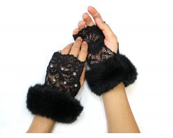 Black Fur Crystal Lace Hand Warmers