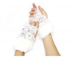 White Fur Crystal Lace Hand Warmers