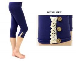 Navy Blue Lace Button Capri Leggings 12pk