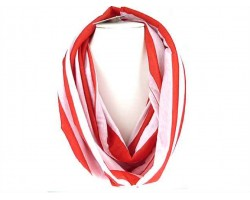 Red White Strip Knit Infinity Scarf