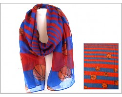 Blue Red Basketball Theme Oblong Scarf