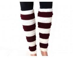Maroon White Striped Knit Boot Topper Leg Warmer