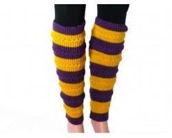 Purple Yellow Striped Knit Boot Topper Leg Warmer