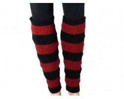 Red Black Striped Knit Boot Topper Leg Warmer