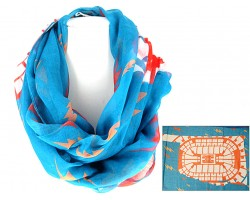 Turquoise Yellow Thunder Bolts Infinity Scarf