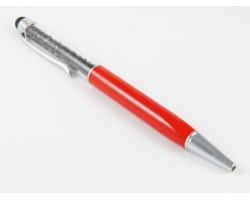 Red Stylus with Black Crystal Filled Pen Tube