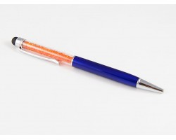 Blue Stylus Orange Crystal Filled Pen Tube
