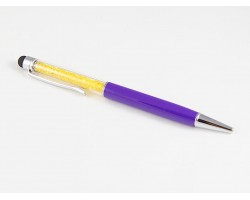 Purple Stylus Gold Crystal Filled Pen Tube