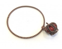 Antique Copper Crown Charm Rope Bangle