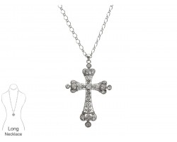 Silver Plate Crown Shaped Cross with Clear Crystal Necklace
